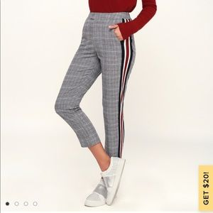 Lulus plaid black and white striped trouser pants